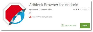 Aplikasi adblock browser untuk menghilangkan iklan di android