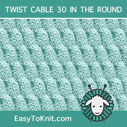 Left Diagonal Twist Cable, easy to knit in the round