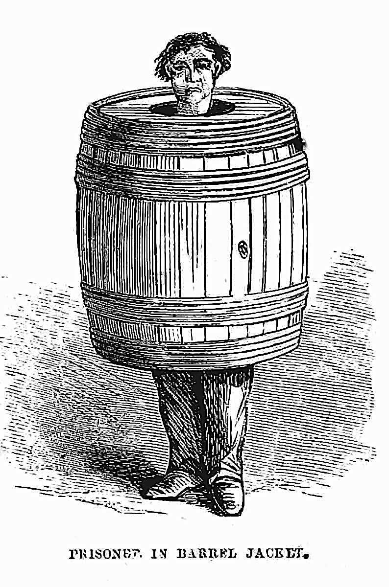 """a judge applies humiliation in 1865 USA, """"Prisoner in Barrel Jacket"""" illustration"""