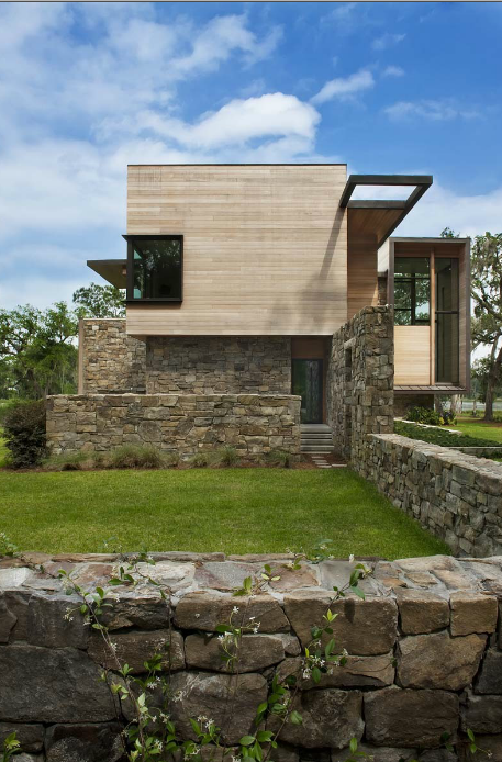 Stone facade on Modern house design by James Choate