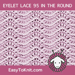 Old Shale Stitch pattern for knitting in the round