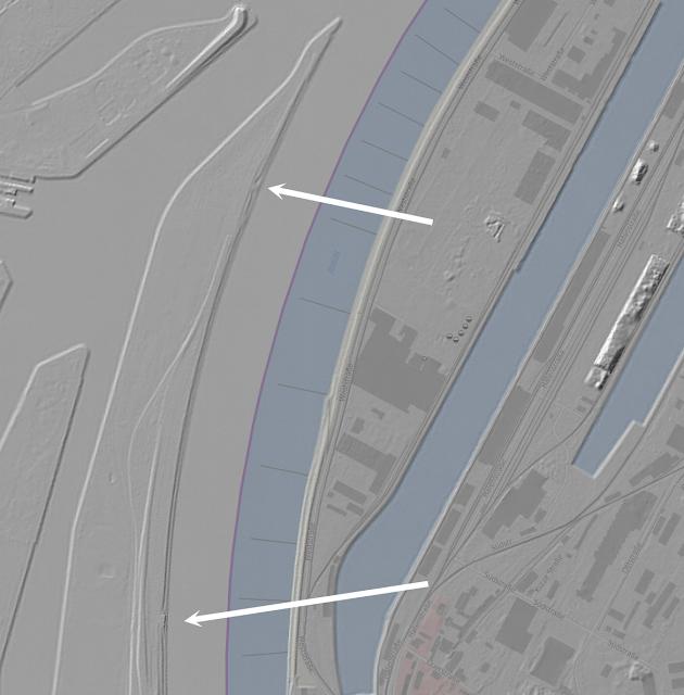 Fortifications de Strasbourg, ligne Maginot, Sporeninsel — LIDAR (Geoportal BW)