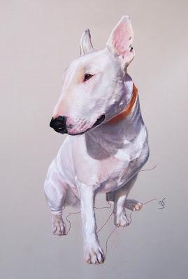 Retrato a pastel de Bull Terrier