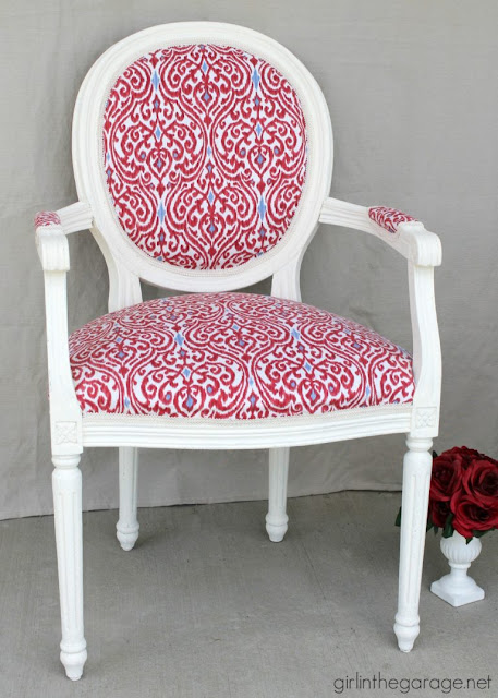 how to reupholster furniture, red white and blue chair, red white and blue fabric, diy chair