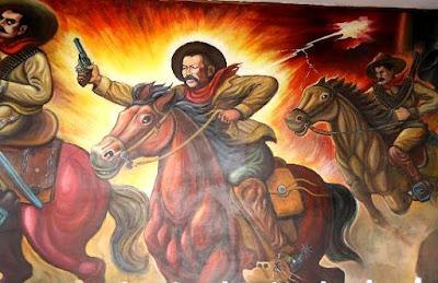 Mural de Pancho Villa en plena revolución