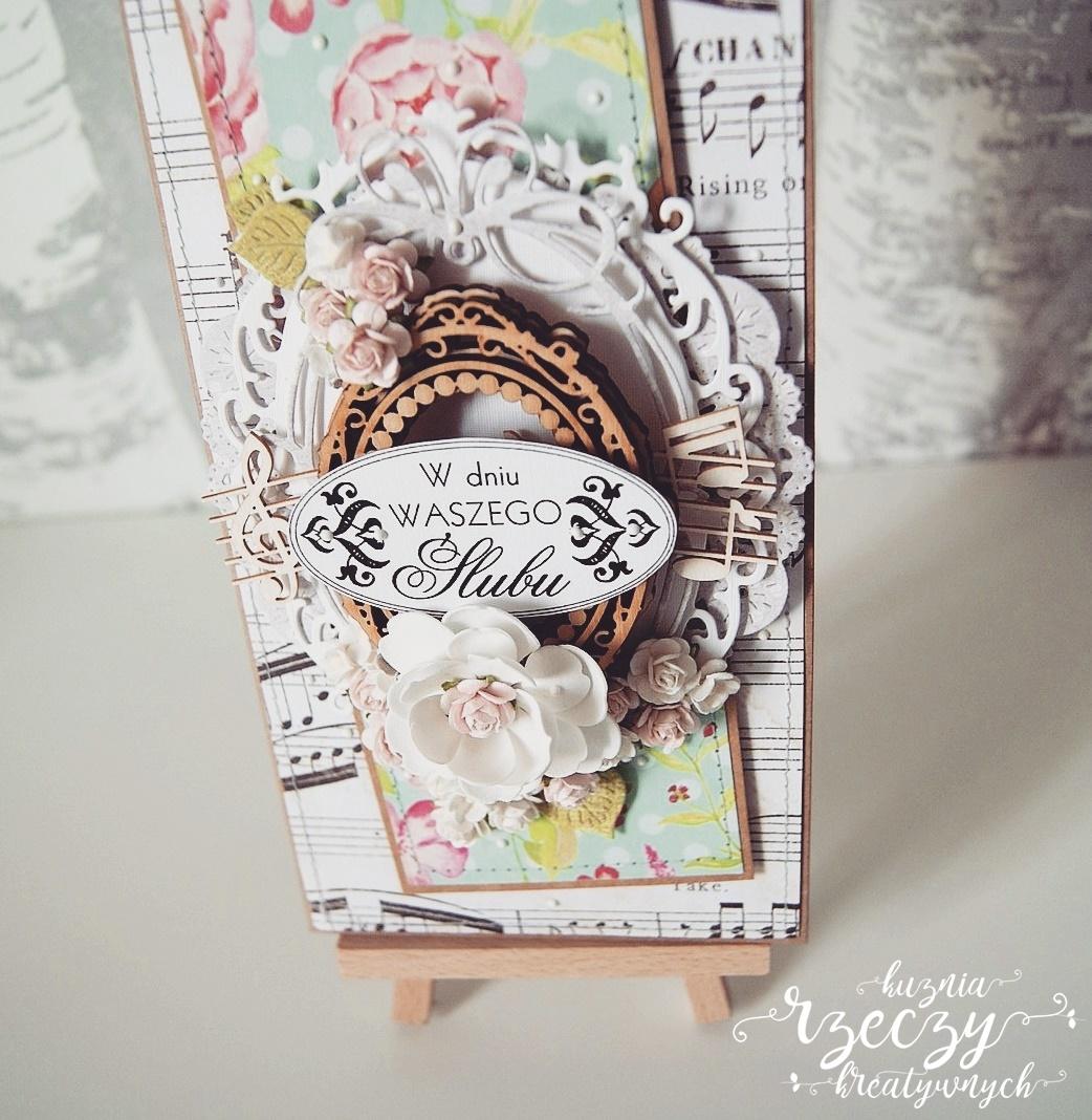 Ręcznie wykonana kartka ślubna.
