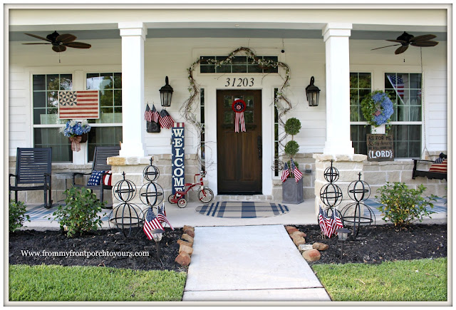 Patriotic Home Decor-4th of July-Farmhouse Style-Cottage Stye-Plaid Rugs-Red tricycle- Front Porch-From My Front Porch To Yours