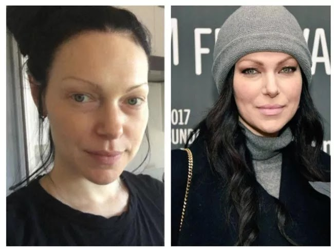 24 Pictures Of Famous Women With And Without Makeup - Laura Prepon