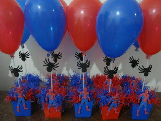 Centros de Mesa balões Homem Aranha para Festa Infantil