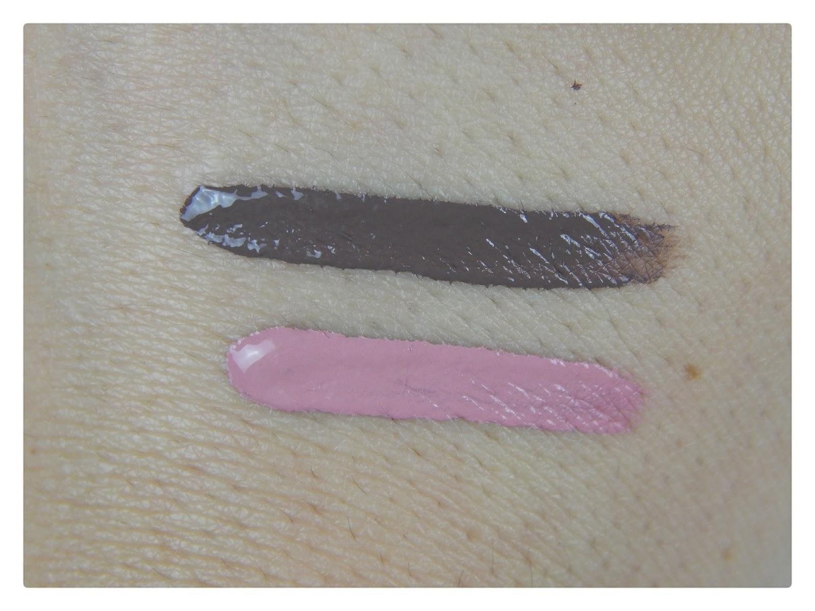 swatch dos batons em líquido matte marrom e rosa ruby rose