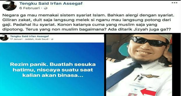 Lagi Garuda Panggil Pilot Tengku Said Yang Posting Bela Teroris