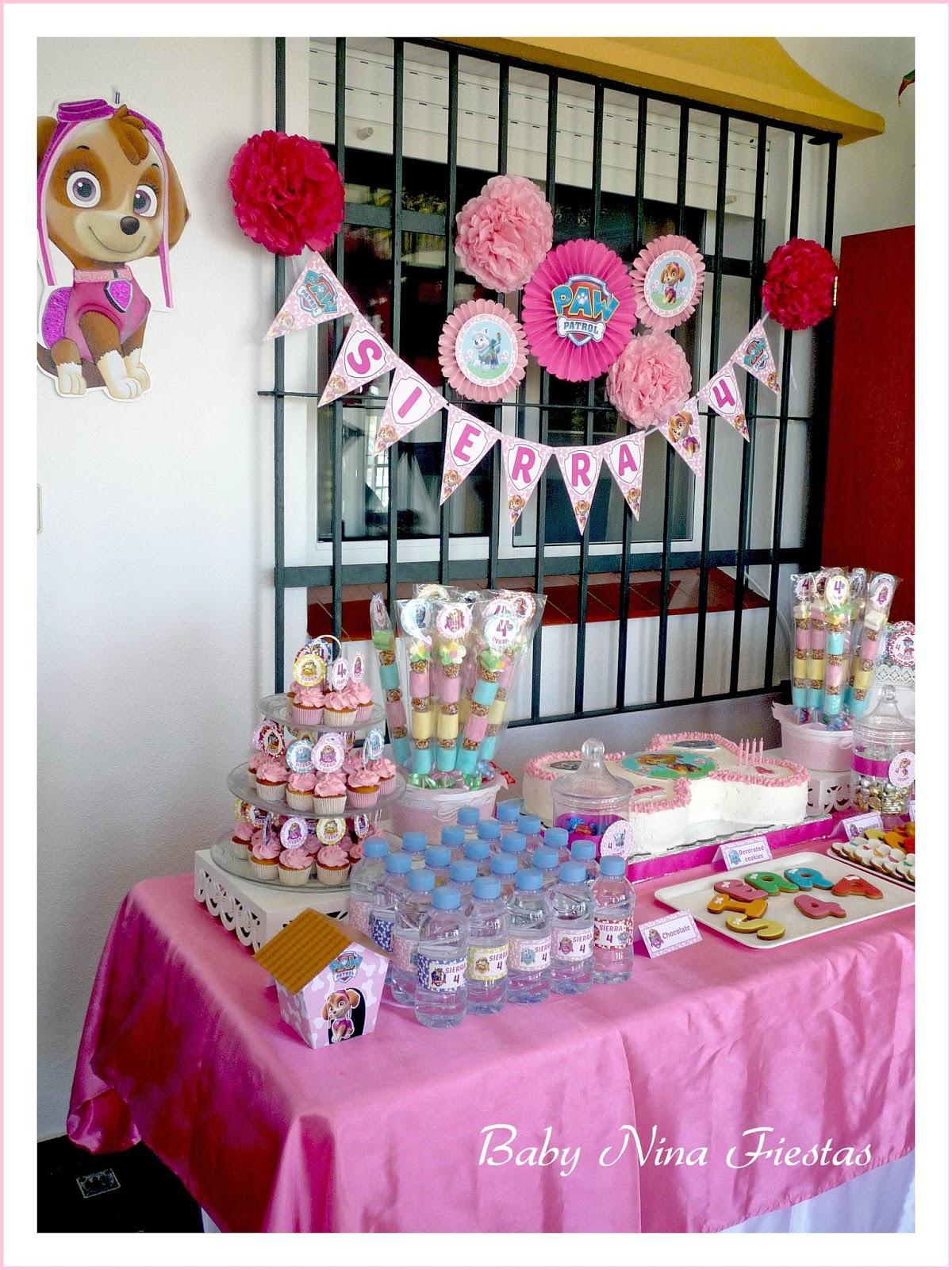 Baby nina fiestas mesa dulce skye patrulla canina para el - Mesas dulces para ninas ...
