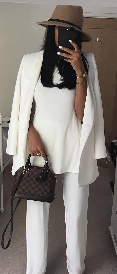 how to style a nude hat : white suit + blouse + bag