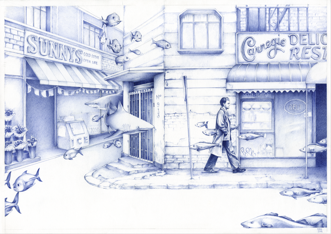 04-A-Sunday-on-55th-Street-Dani-Loureiro-Zero-Gravity-Ballpoint-Pen-Drawings-www-designstack-co