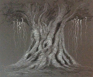 Charcoal and white pastel pencil sketch of tree done by student during an art workshop by Manju Panchal