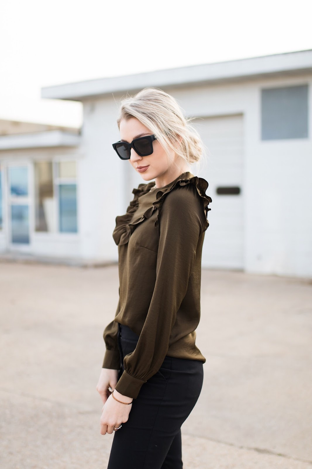 Satin ruffled blouse