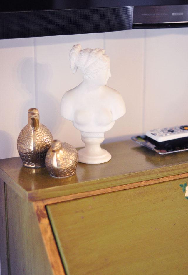 brass figurines, vintage bust