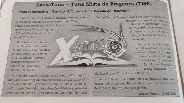 """Nota Informativa- Projeto """"A Tuna!- Uma Década de Histórias"""""""