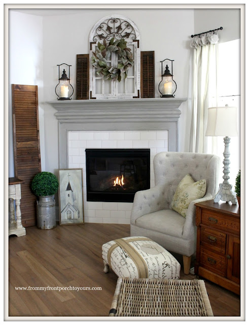 Farmhouse Fireplace-Painted Fireplace Mantel-SHerwin Williams-Dorain Gray-From My Front Porch To Yours