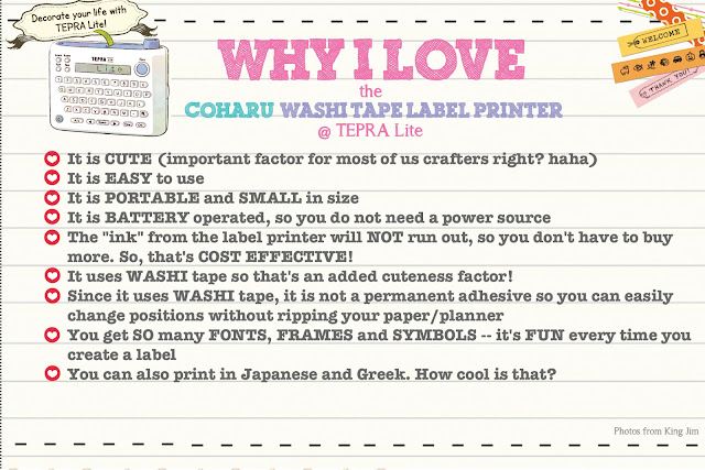 ScrappyScrappy: Coharu Washi Tape Label Printer @ Tepra Lite REVIEW #scrappyscrappy #craftsnlatte #coharu #labelprinter #tepralite #washitape #crafting #scrapbook #stationary