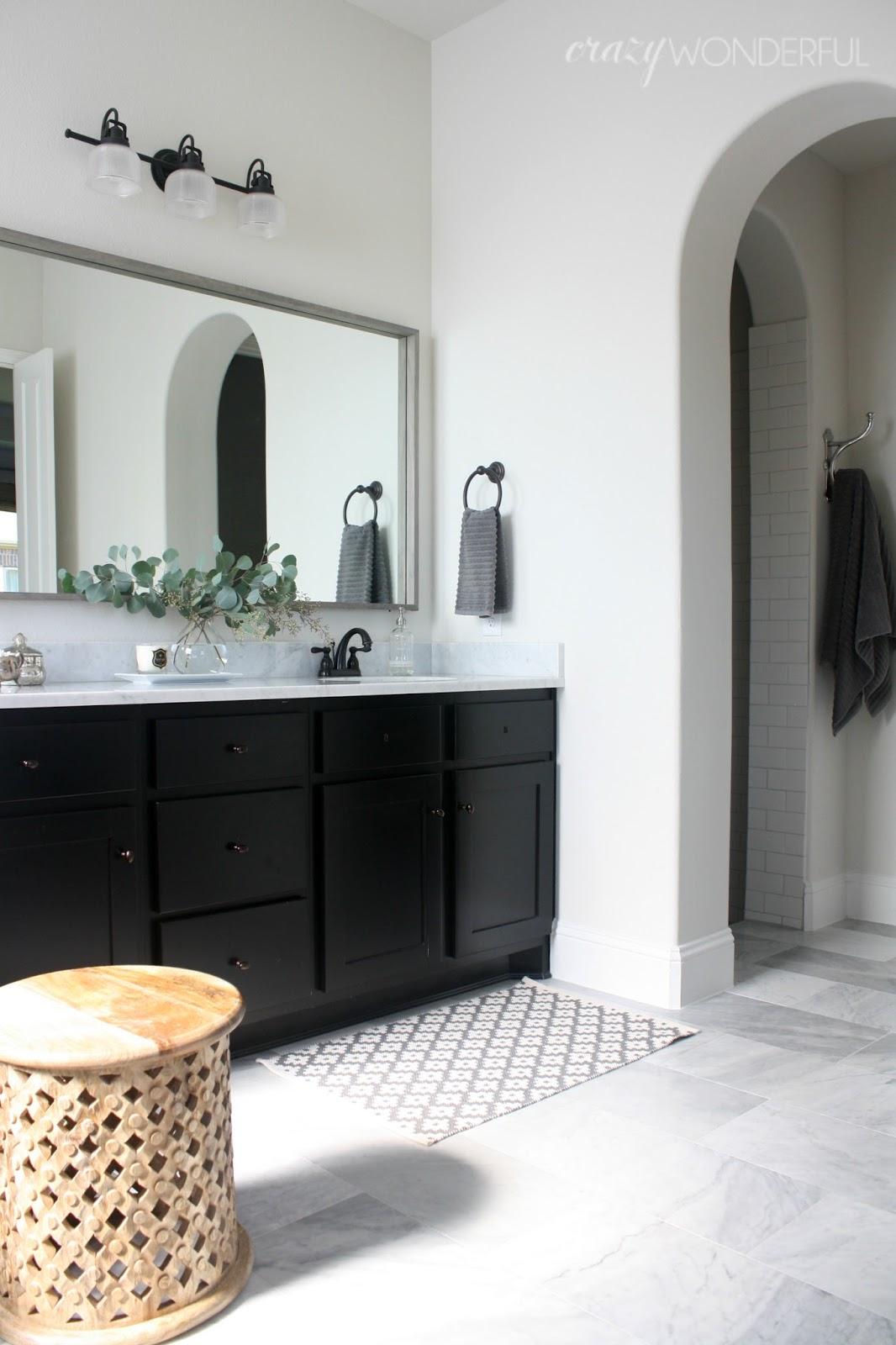 Luxury master bath framed mirror