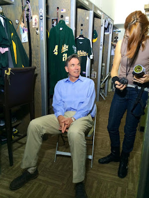 TABITHA SOREN TAKING TAKING BILLY BEANE'S PORTRAIT FOR FANTASY LIFE IN OAKLAND A'S CLUBHOUSE, 2013