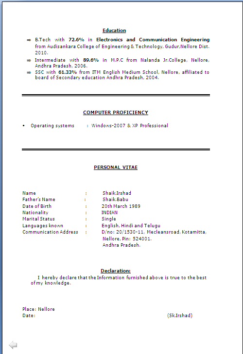 Resume Declaration Format Awesome Declaration Format For Resume