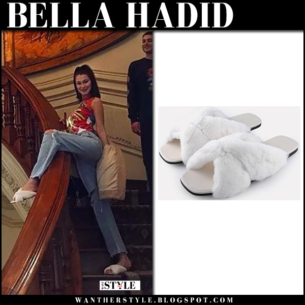 Bella Hadid in white fur slippers alumnae instagram january 1