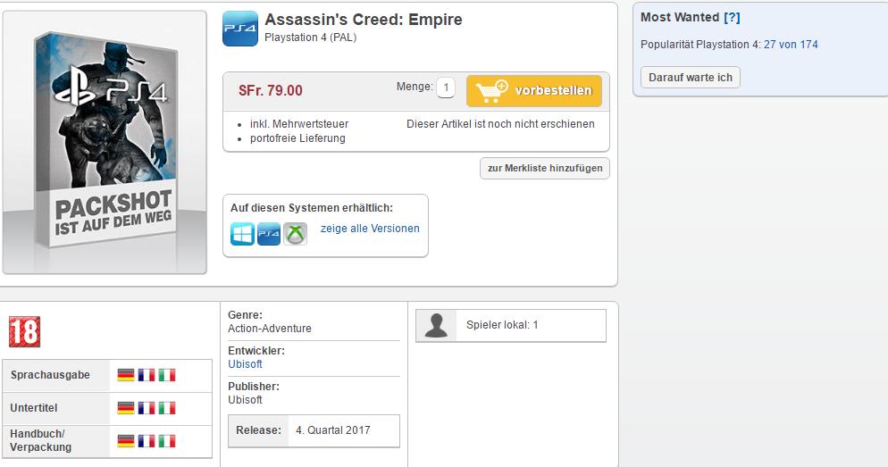 Assassin's Creed Empire apunta su lanzamiento para finales de año según filtración