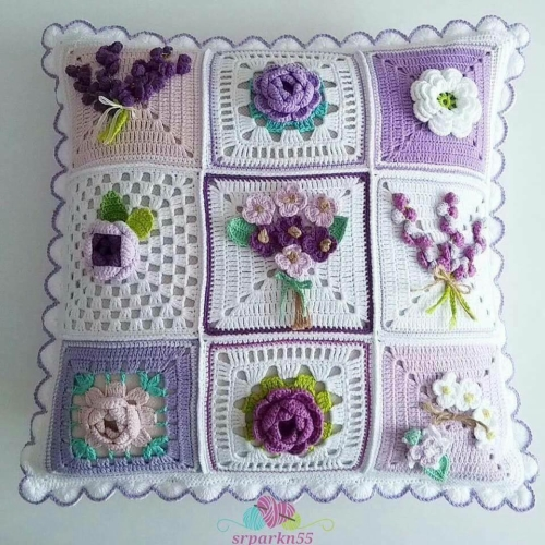 Beautiful Pillow (Crochet Squares) - Free Pattern
