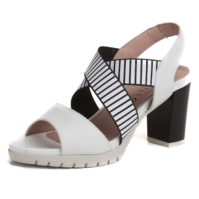 Sandalia de elásticos blancas y negras