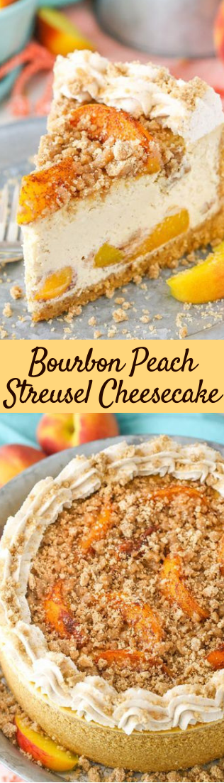 Bourbon Peach Streusel Cheesecake #Dessert #easy