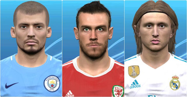 Luka Modric, David Silva & G. Bale Faces PES 2017