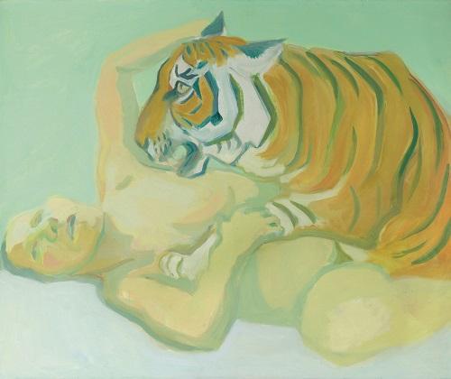 by Maria Lassnig - A letto con una tigre - 1975