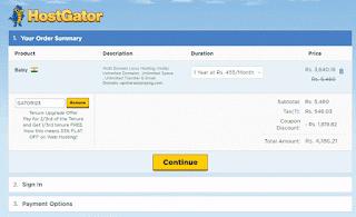 hostgator hosting amout Details