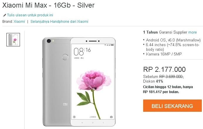 Harga Xiaomi Mi Max 16 GB dengan RAM 2 GB