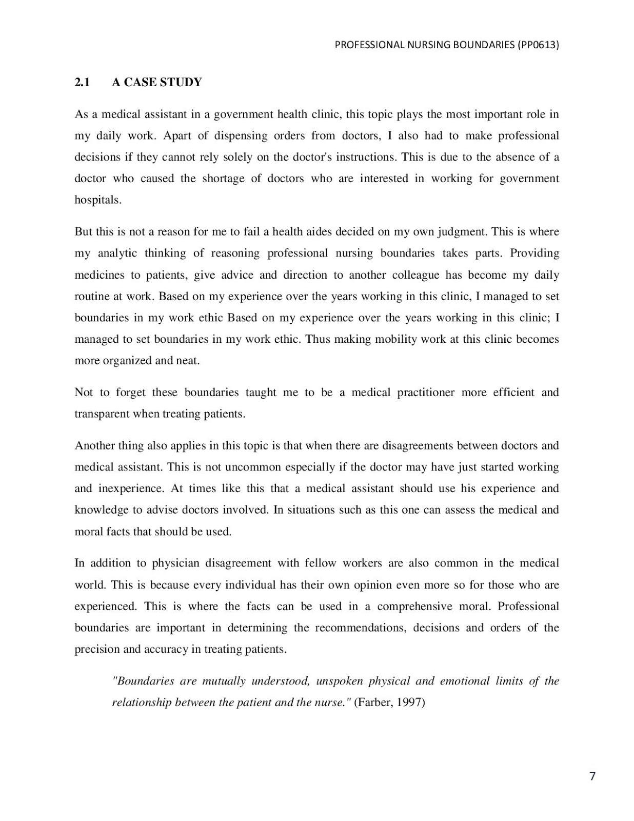 PROFESSIONAL NURSING BOUNDARIES - UpahBuatAssignment