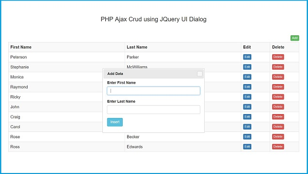 PHP Ajax Crud using JQuery UI Dialog | Webslesson