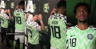 Wizkid, Alex Iwobi officially unveil new Super Eagles jersey