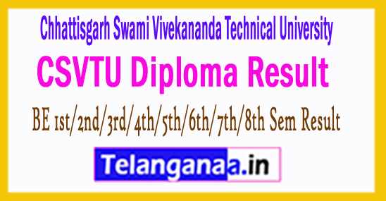 CSVTU BE 1st/2nd/3rd/4th/5th/6th/7th/8th Sem Result 2018