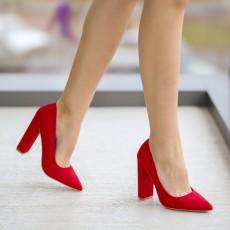 Pantofi femei rosii piele intoarsa cu toc gros inalt