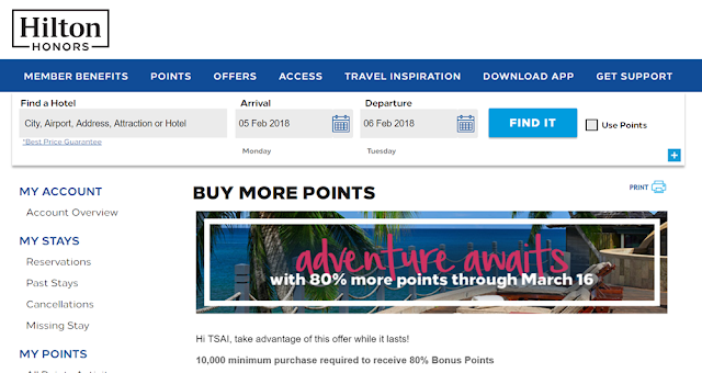 2018年Q1希爾頓Hilton買分活動:購買Hilton Honors Points,贈送80% Bonus!