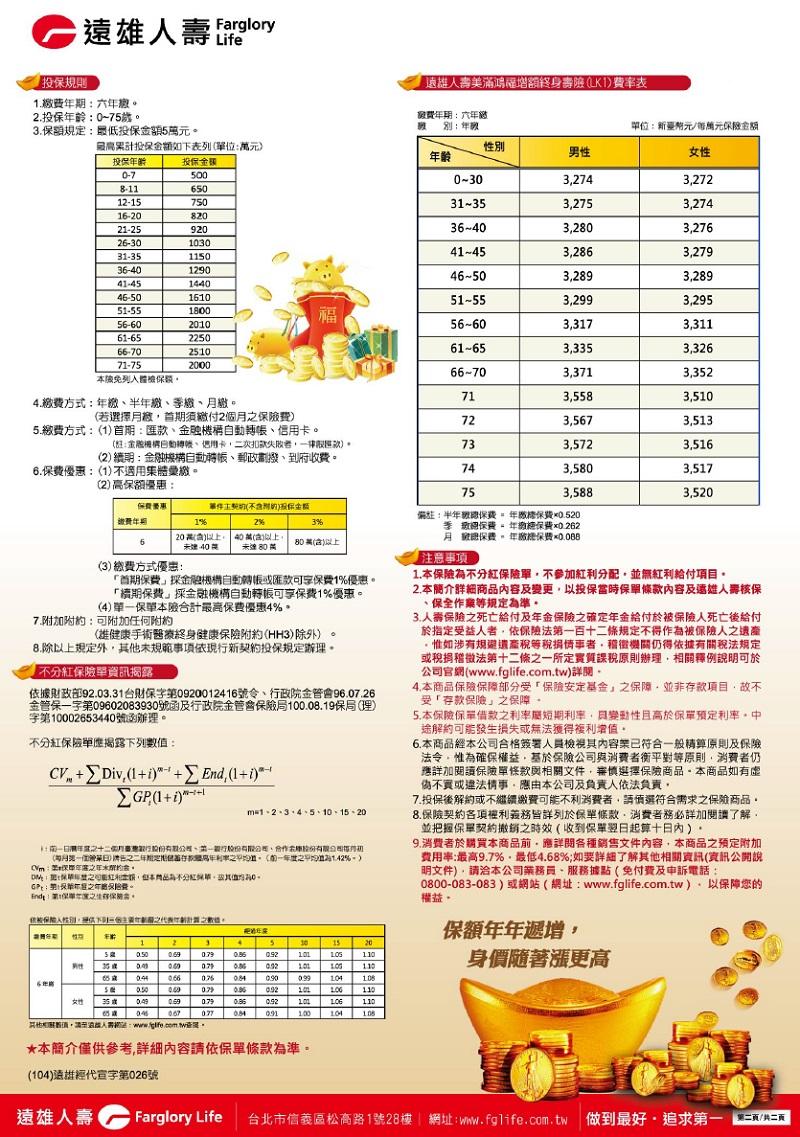 儲蓄險: 遠雄人壽【美滿鴻福增額終身壽險LK1】