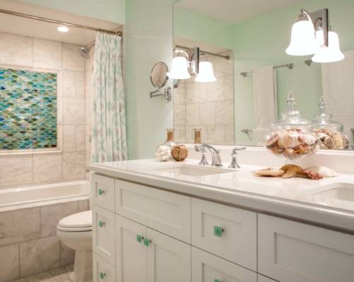 Beach condo remodel chic cottage style completely coastal for Sea glass bathroom ideas
