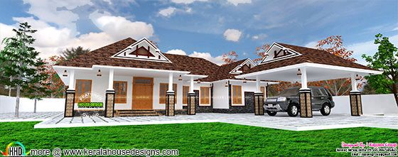 Single floor house with separate porch kerala home for Separate car porch design