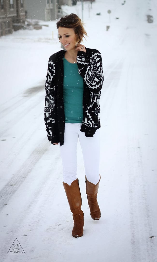 Aztec cardigan with a bright tee and white jeans