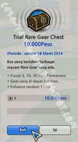 Trial Rare Gear Chest di toko dengan 10.000 peso