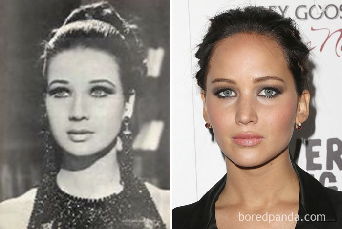 #8 Egyptian Actress Zubaida Tharwat (1940-2016) And Jennifer Lawrence - 10 Celebrity Lookalikes That Prove Time Travel Exists