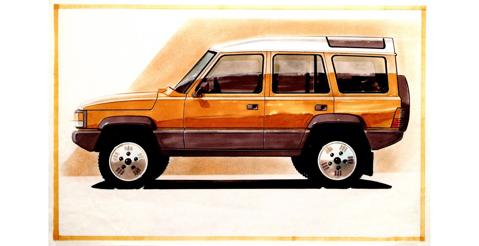 January 1986 sketch of Land Rover Discovery mk1 by Mike Sampson