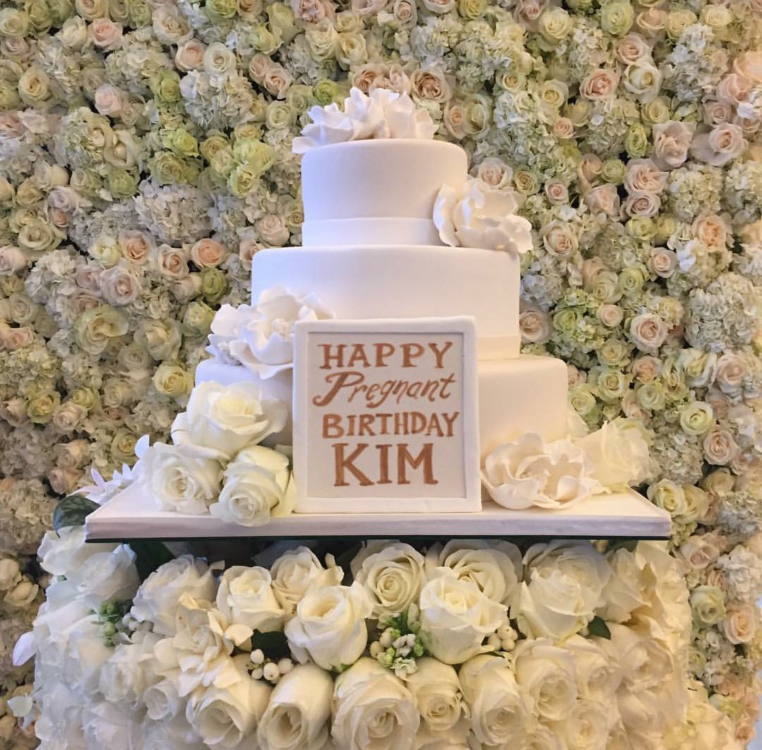 Check Out The Birthday Cake Kanye West Presented To His Pregnant Wife, Kim K